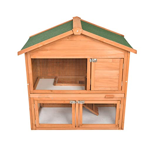 ECOLINEAR Rabbit Hutch Wooden Bunny Cage Pet House Coop for Small Animals (39C)