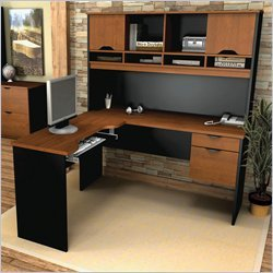 Bestar Office Space Corner - Bestar Innova L-Shape Wood Computer Workstation with Hutch in Tuscany Brown