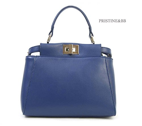 Golden Tote Satchel Bag Cow Shoulder Finest handle Lovely 916 Blue Italian top fashion Crossbody Skin Women's 0XqwUzRq