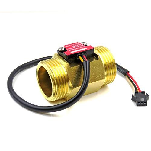 jdhlabstech Sensor de Flujo de Líquidos Caudalímetro de Cobre 2 a 50 litros/min tubería de 1' (DN25)