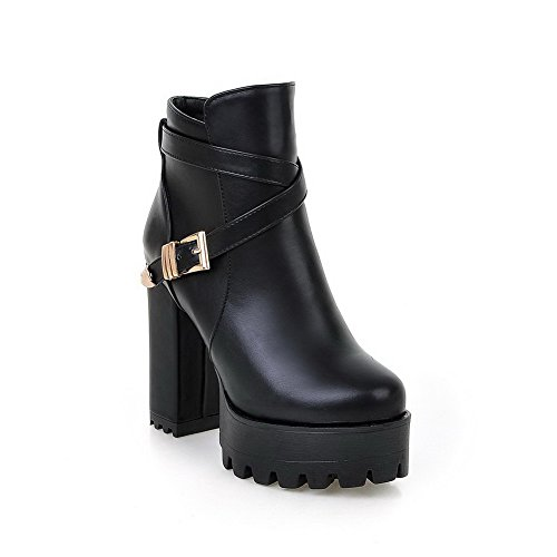 Toe Zipper Top Boots Black Allhqfashion High Round Heels Closed Women's Low aqwHnAT4