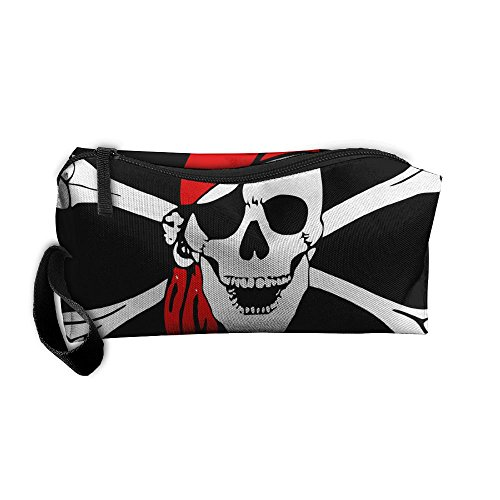 Skull With Red Scarf Pattern Makeup Bag Calico Girl Women Travel Portable Cosmetic Bag Sewing Kit Stationery Bags Funny Storage Pouch Bag Multi-function (Calico Scarf)