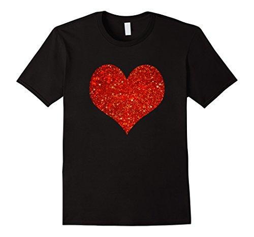Red Glitter Love Heart Valentine Shirt (Girls Glitter T-shirt)