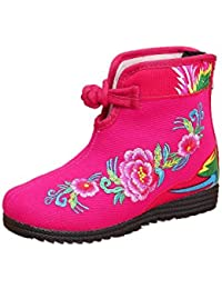 New Girls Sun Flower Embroidery Short Boots Shoes (Toddler/Little Kid/Big Kid