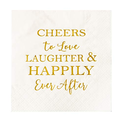 Crisky 50 Count Bridal Shower Napkins Disposable Cocktail Napkins 3-Ply Gold Foil Text Beverage Napkins for Engagement Party Decorations & Wedding Shower