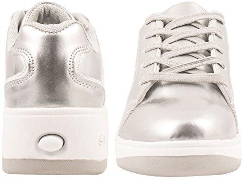 Elara Damen Herren Kinder Rollschuhe Sportschuhe Schuhe mit Rollen Laufschuhe Runners Sneakers Silber Skater
