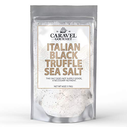 Italian Black Truffle Sea Salt 6 oz. Refill Pouch - All-Natural Infused Sea Salt with Black Truffles & Truffle Oil from Italy - No Gluten, No MSG, Non-GMO - Cooking & Finishing Salt - Caravel Gourmet