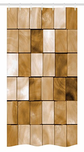 Ambesonne Beige Stall Shower Curtain, Faded Tiles Wood Cubes Squares Geometric Inspired Modern Simple Urban Boho Chic Artwork, Fabric Bathroom Decor Set with Hooks, 36 W x 72 L inches, Brown