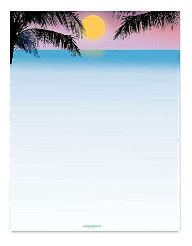 Palm Tree Stationary - Tropical Sunset Scene Stationery - 8.5 x 11-60 Beach Letterhead Sheets - Tropical Theme Letterhead