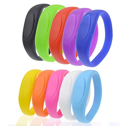 USB Flash Drive 32GB Bracelet Bulk Thumb Drives Pack of 10, Kepmen Silicon Memory Stick Wristband Zip Drive, Stylish Jump Drive Colorful Pendrive Festival Gift