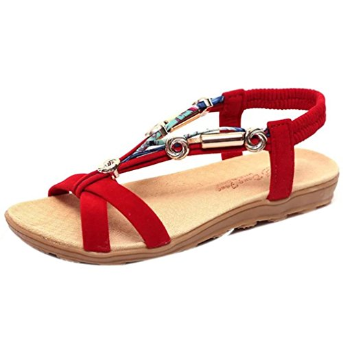 Clearance! ❤️ Women's Sandals, Neartime Fashion Summer Style Elastic T-Strap Bohemia Beaded Solid Color Flat Shoes (7, Red)