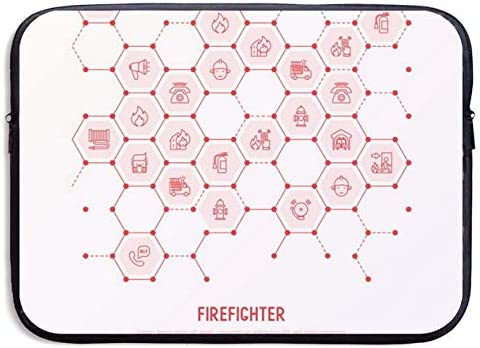 Firefighter in Honeycombs 13inch Laptop Sleeve Portable Dual Zipper Case Cover Pouch Tablet Bag