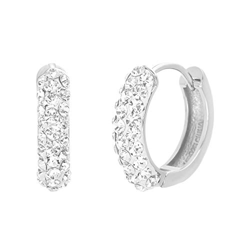 Devin Rose Pave Huggie Hoop Earrings for Women In Rhodium Plated 925 Sterling Silver Made With Swarovski Crystals