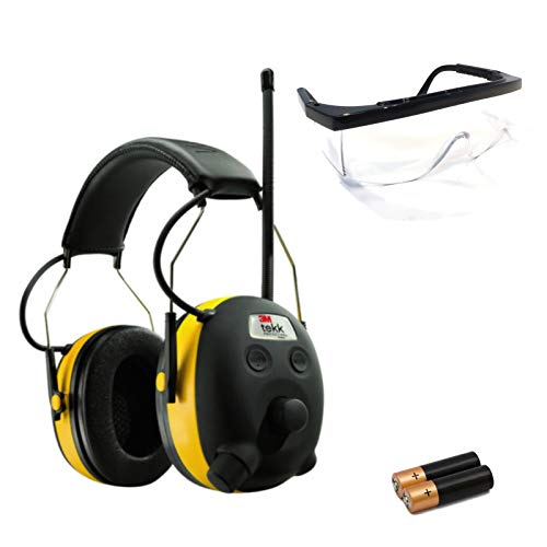 PELTOR WORKTUNES AM FM MP3 Radio Headphones Hearing Protection w/Glasses + 2AA by The ROP Shop