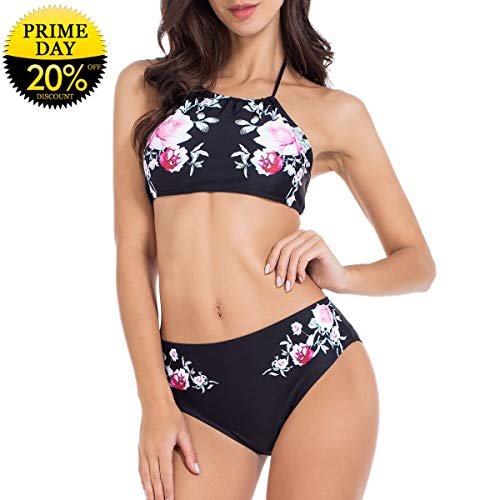 - Lomantise Womens Swimsuits Two Piece Full Coverage Top Bikini Bathing Suits Sexy Black Swimming Suit Black L