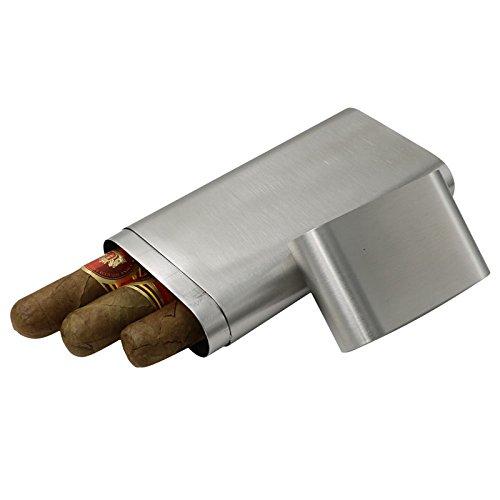 JUJOR Cigar Box Tube Grade 304 Stainless Steel (Gray) ()