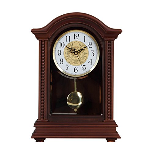 LANNA SHOP- American retro Mantle Table clock Non-Ticking Silent wooden desk clocks for living room with ()