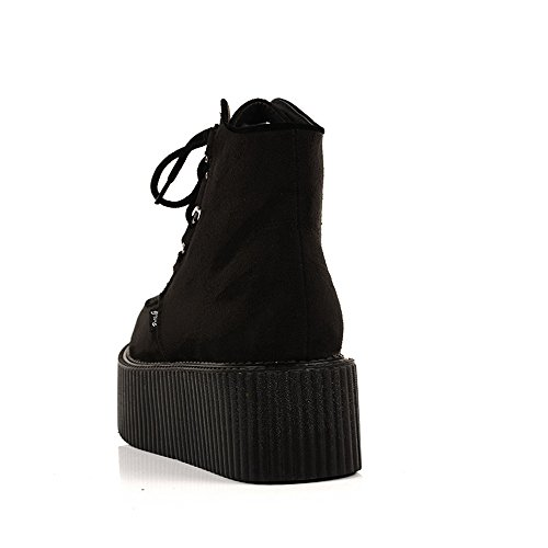 Botas RoseG Negro Cordones Zapatos Mujer Polacchine Plataforma IwfxqwPCr