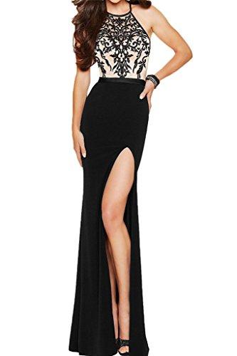 Vestido ressing vestido negro de línea Prom Fiesta para bordado Ranura noche utilizada Charmeuse vestido Mujer ivyd de funda CxwdUx