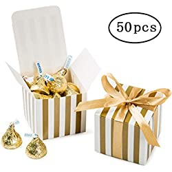 Small Candy Box Bulk 2x2x2 inch with Ribbon, Gold White Strips Box Party Favors pack of 50
