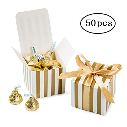 Small Candy Box Bulk 2x2x2 inch with Ribbon, Gold White Strips Box Party Favors pack of 50 for $<!--$10.99-->