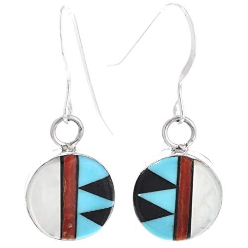 Zuni Inlaid Turquoise Shell Earrings Silver French Hook Style by Tony Martza 0197 ()