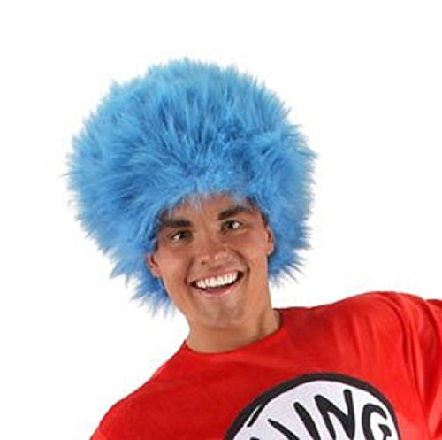 [Elope Dr Seuss Thing 1 Thing 2 Blue Fuzzy Wig For Women & Men] (Thing One Dr Seuss Costume)