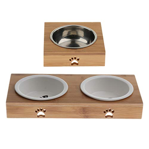 Baosity 3 Pieces Raised Pet Bowls for Cats and Dogs - Bamboo Dog Cat Food and Water Bowls Stand Feeder -