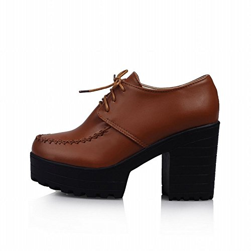 Carolbar Womens Lace Up Rétro Vintage Simple Mode Haute Chunky Talon Cheville Bottes Marron
