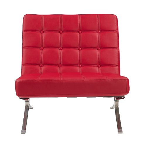 Global Furniture Natalie Chair, Red (Red Leather Contemporary Chair)