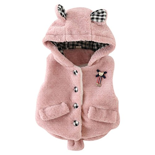 Sikye Baby Infant Girls Cartoon Winter Waistcoat Thick Warm Tops Vest Clothes (24month, Pink)