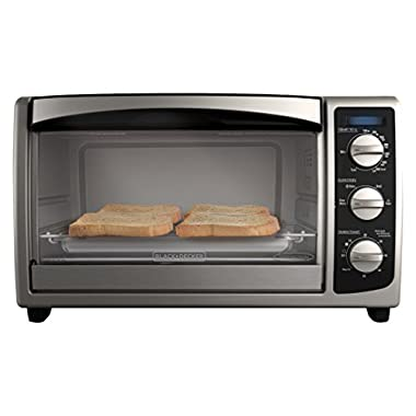 BLACK+DECKER TO1675B 6-Slice Toaster Oven, Convection Oven, Bake, Broil, Toast, and Keep Warm Functions, Stainless Steel/Black