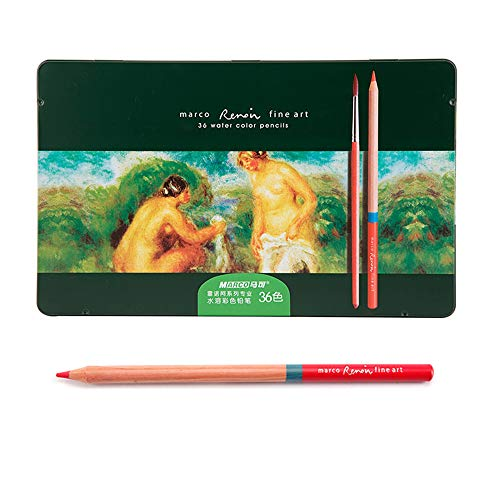 Professional Colored Pencils, Oil-Based, Water-Soluble, Fine Art Painting, Professional Hand-Painted (36 Color, 36 Color Water soluble)