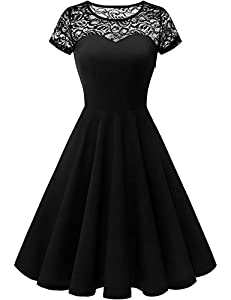 Yoyaker Women's 1950s Audrey Hepburn Rockabilly Vintage Dress Floral Lace Cocktail Swing Stretchy Dress