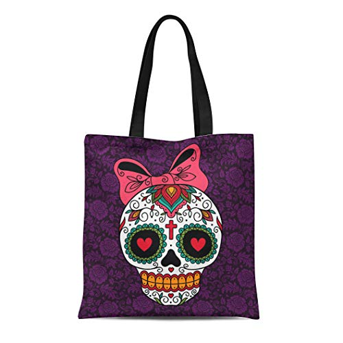 Semtomn Canvas Tote Bag Red Day Mexican Sugar Skull Girl Yellow Dead Tattoo Durable Reusable Shopping Shoulder Grocery Bag