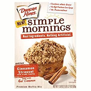 Duncan Hines Simple Mornings Cinnamon Streusel Muffin Mix,17.8-Ounce Boxes (Pack of 6)