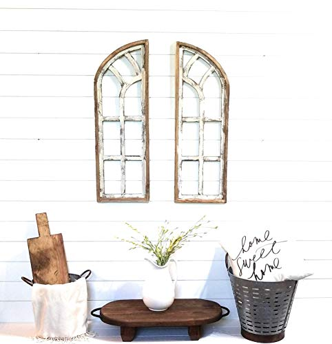 Farmhouse Wooden Wall Windows Set of 2-Wood Window Frame- Chariot Gardens (Wood Window Frame)