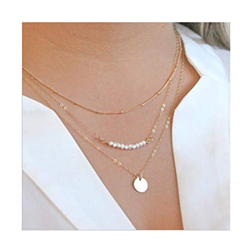 Sequin Gold Necklace - Campsis Fashion Gold Sequin Pendant Necklace Pearls Pendant Chain Multi Layers Necklace for Women and Girls