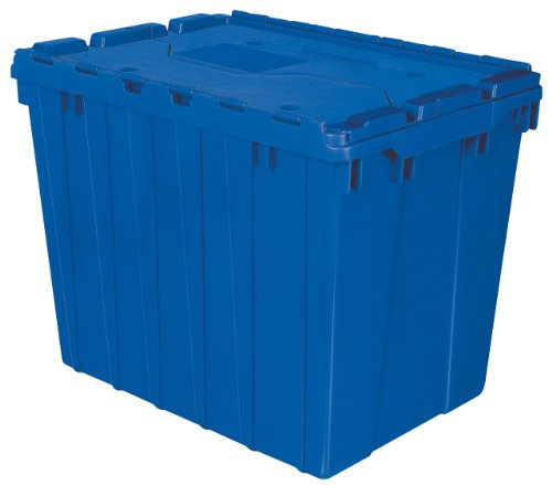 Akro-Mils 39170 Plastic Storage and Distribution Container Tote with Hinged Lid, 21.5-Inch L by 15-Inch W by 17-Inch H, Blue, Case of 3 by Akro-Mils
