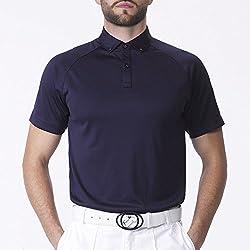 IJP Design Men's Raglan Golf Shirt Blue Small