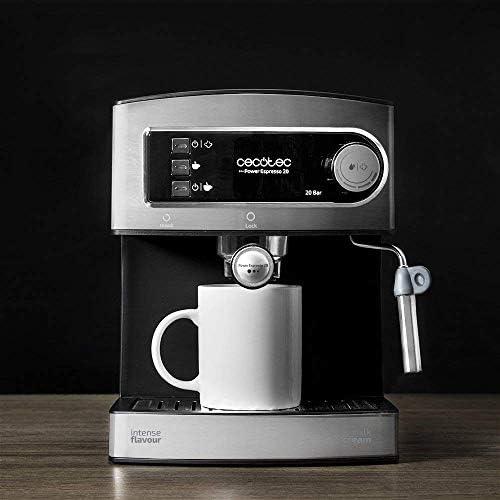 Cecotec Machine à café Expresso Power Espresso 20. 20 bars de Pression, Réservoir d'1.5 L, Bras Double Sortie, Buse vapeur, Plateau Réchauffe-tasses, Finitions en Acier Inoxydable, 850 W.