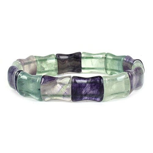 Natural Rainbow Fluorite Gemstone Bamboo Joint Beads Elastic Stretch Bracelet (Fluorite Gemstone Bracelet)