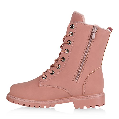 Stiefelparadies Warm Gefütterte Damen Stiefeletten Worker Boots Kunstfell Schuhe Flandell Rosa Berkley