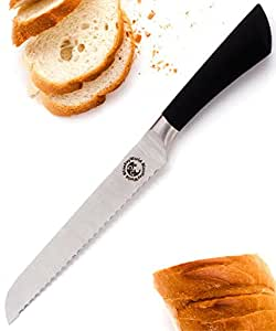 Ultra Sharp Well Balanced Bread Knife. Rust-Free 8 Inch Serrated Blade. Cuts Through All Types of Bread Including Hard Crusts. Sturdy, Comfortable and Ergonomic Handle (1-pack)