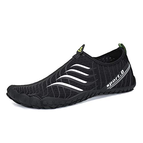 Seabone Mens Womens Minimalist Gym Trail Running Athletic Beach Waterfall Climbing Outdoor Shoes Wide Toe Box Barefoot Inspired Black 11.5 M US Women / 10 M US Men (Best Minimalist Gym Shoes)