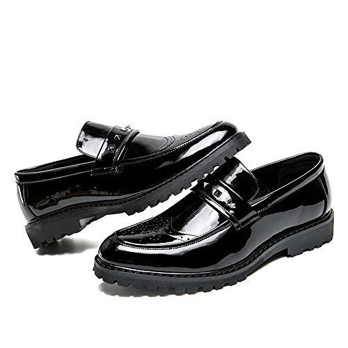 Antideslizantes men's De Negro Charol Gruesos Hombres Con Los Xhd Shoes Personalidad Fashion Rivet Remachados Oxford Business Zapatos 71dxwSHq