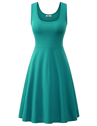 Herou Women Summer Beach Casual Flared Tank Dress (Medium, Turquoise)
