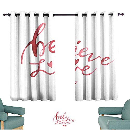 Bedroom curtain Valentines Day text Believe in Love