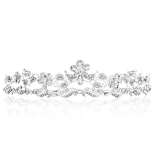 Bienna Wedding Tiara Crown Sparkly Rhinestones Flower Decor Bridal Headpiece for Prom -
