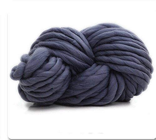 Zituop Super Chunky Roving Big Yarn for Hand Knitting Crochet, 250g, 8.8 Ounze (Dark Grey)